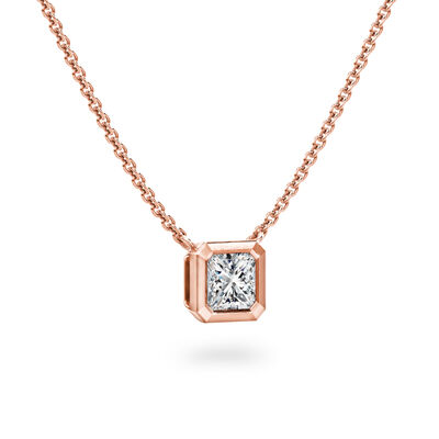 My Girl Bezel Set Diamond Solitaire Pendant In Brushed 18K Rose Gold, , large image number null