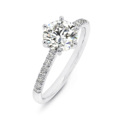 6 Prong Victoria Diamond Band Solitaire Diamond Engagement Ring in Platinum, , large image number null