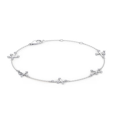 Southern Cross Diamond Station Bracelet in 14K White Gold, , large image number null