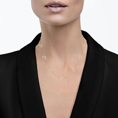 My Africa Diamond Station Necklace in 14K Yellow Gold, , large image number null