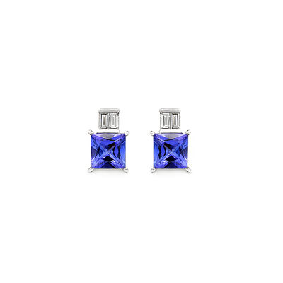 3.20 Carat Tanzanite and Diamond Earrings in 18K White Gold, , large image number null