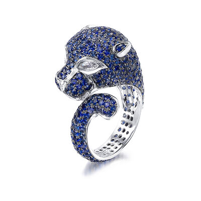 Blue Sapphire and Diamond Panther Ring in 18K White Gold, , large image number null