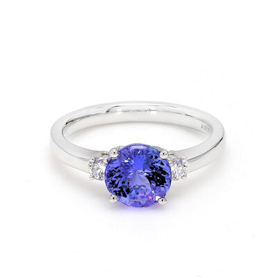 1.81 Carat Tanzanite 3 Stone Ring with Diamonds in 18K White Gold, , large image number null