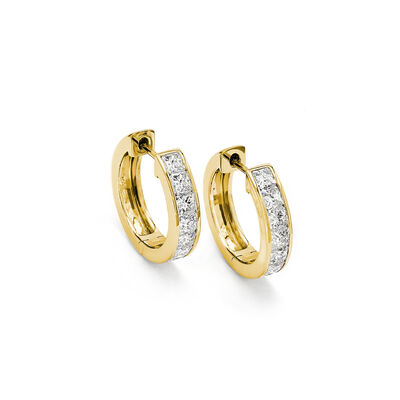 My Girl Diamond Channel Set Hoops in 18K Yellow Gold, , large image number null