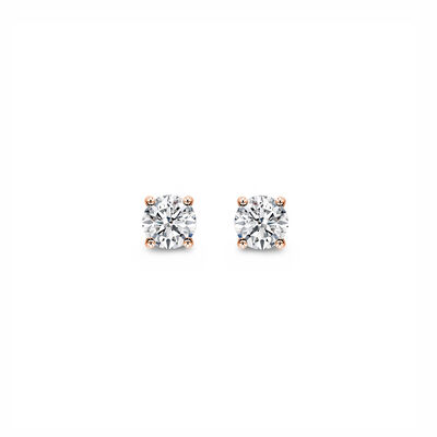 4 Prong Classic Diamond Stud Earrings in 18K Rose Gold, , large image number null