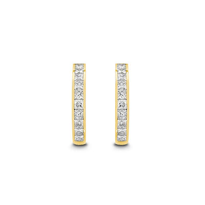 My Girl Medium Diamond Channel Set Hoops in 18K Yellow Gold, , large image number null