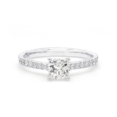 My Girl Diamond Engagement Ring with Diamond Band in Platinum, , large image number null