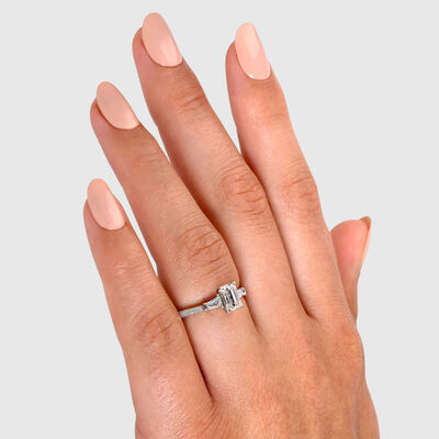 The Shimansky Dahlia Emerald Cut Diamond Engagement Ring in Platinum, , large image number null