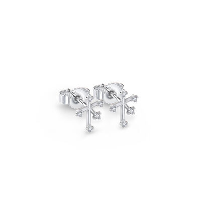 Southern Cross Diamond Petite Stud Earrings in 14K White Gold, , large image number null