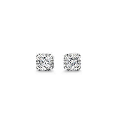 My Girl Diamond Halo Studs in Platinum, , large image number null