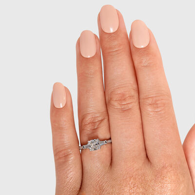 The Shimansky Dahlia Cushion Cut Diamond Engagement Ring in Platinum, , large image number null