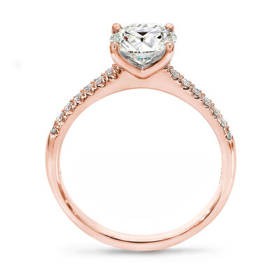 4 Prong Victoria Solitaire Diamond Engagement Ring With Diamonds On The Band in 18K Rose Gold, , large image number null