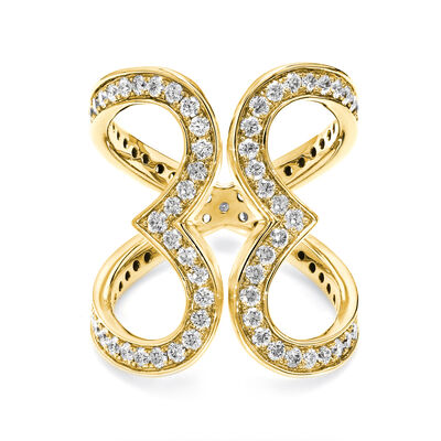 Two Hearts Diamond Statement Ring in 18K Yellow Gold, , large image number null