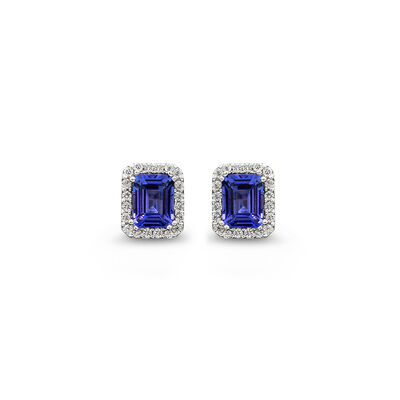 4.14 Carat Tanzanite and Diamond Halo Earrings in 18K White Gold, , large image number null