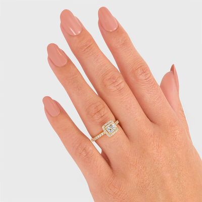 My Girl Diamond Halo Engagement Ring in 18K Yellow Gold, , large image number null