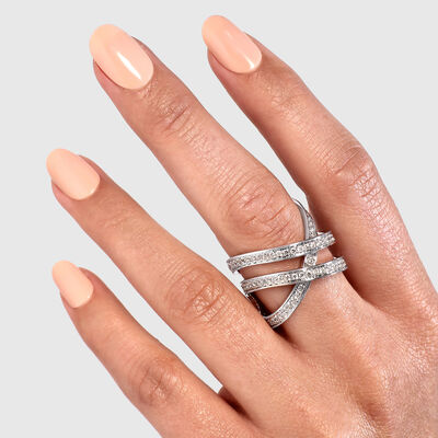 Double Infinity Diamond Ring in 18K White Gold, , large image number null