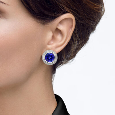 29.58 Carat Tanzanite and Diamond Triple Halo Earrings in 18K White Gold, , large image number null