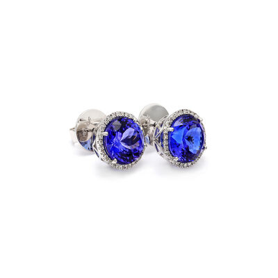 10.20 Carat Tanzanite and Diamond Halo Earrings in 18K White Gold, , large image number null
