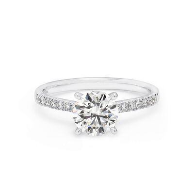 4 Prong Victoria Solitaire Diamond Engagement Ring With Diamonds On The Band in Platinum, , large image number null