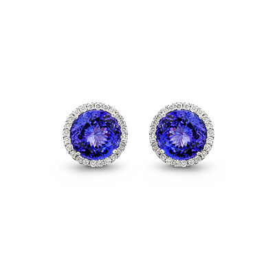 14.77 Carat Tanzanite and Diamond Halo Earrings in 18K White Gold, , large image number null