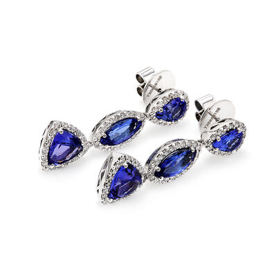 8.03 Carat Tanzanite and Diamond Drop Earrings in 18K White Gold, , large image number null
