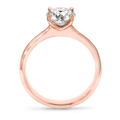 4 Prong Victoria Solitaire Diamond Engagement Ring in 18K Rose Gold, , large image number null