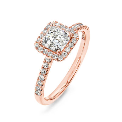 My Girl Diamond Halo Engagement Ring in 18K Rose Gold, , large image number null