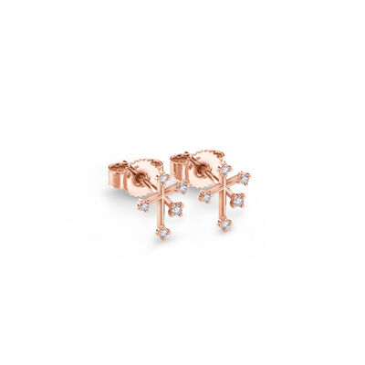 Southern Cross Diamond Petite Stud Earrings in 14K Rose Gold, , large image number null
