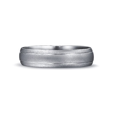 Max-Line Double Grooved Rounded Wedding Band in Brushed Palladium, , large image number null