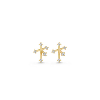 Southern Cross Diamond Petite Stud Earrings in 14K Yellow Gold, , large image number null