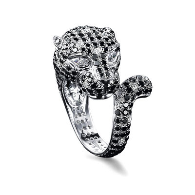 Diamond Panther Ring in 18K White Gold, , large image number null