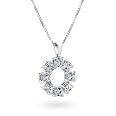 My Girl Lucky Eight Diamond Pendant in Platinum, , large image number null