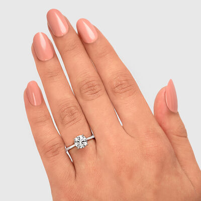 4 Prong Victoria Solitaire Diamond Engagement Ring in Platinum, , large image number null