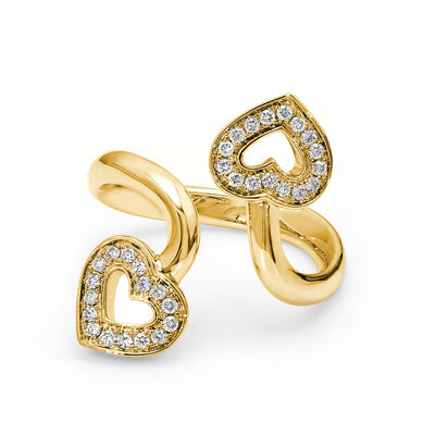 Two Hearts Diamond Twist Ring in 18K Yellow Gold, , large image number null