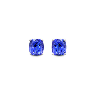 6.81 Carat 4 Prong Classic Tanzanite Stud Earrings in 18K White Gold, , large image number null