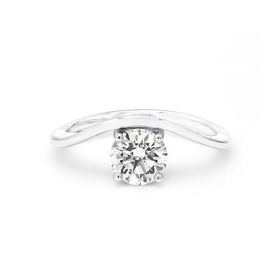 Silhouette Diamond Engagement Ring in 18K White Gold, , large image number null