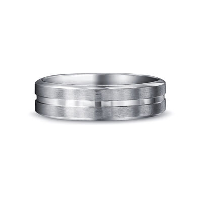 Max-Line Single Grooved Wedding Band in Brushed Palladium, , large image number null