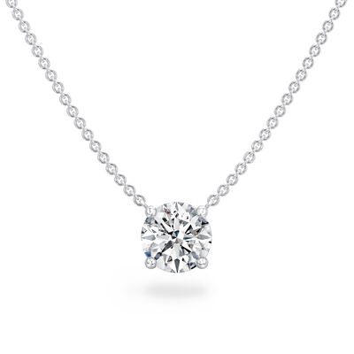 Classic 4 Prong Solitaire Diamond Necklace in Platinum, , large image number null