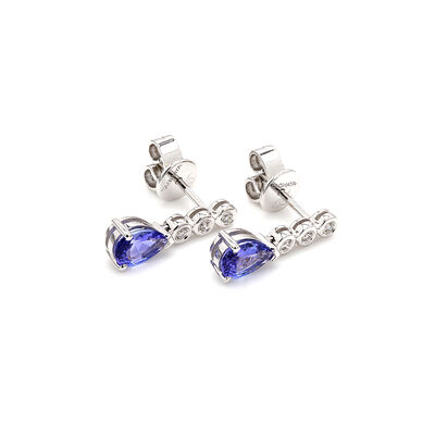 1.18 Carat Tanzanite and Diamond Drop Earrings in 18K White Gold, , large image number null