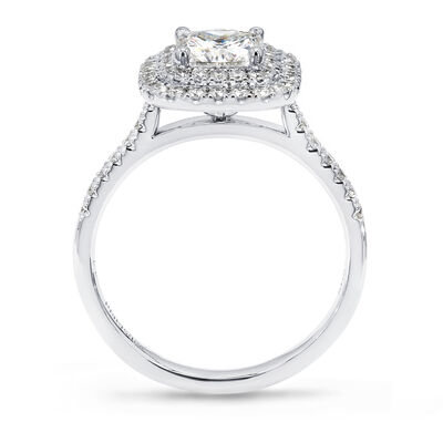 My Girl Cushion Cut Double Halo Design Diamond Engagement Ring in Platinum, , large image number null