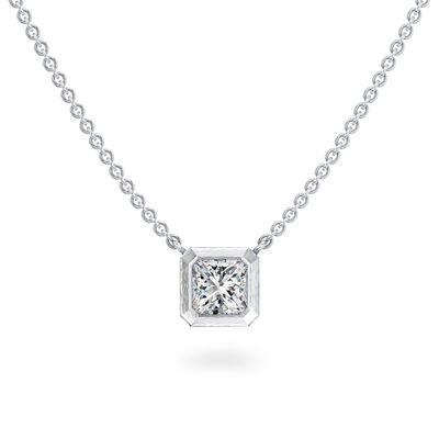 My Girl Bezel Set Diamond Solitaire Pendant In Brushed 18K White Gold, , large image number null