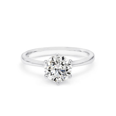 6 Prong Victoria Solitaire Diamond Engagement Ring in Platinum, , large image number null