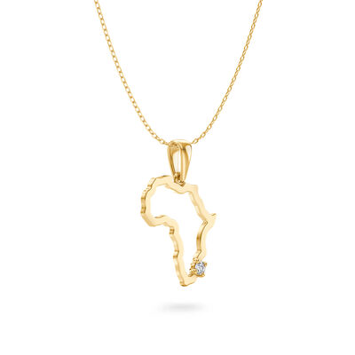 My Africa Small Diamond Pendant in 14K Yellow Gold, , large image number null