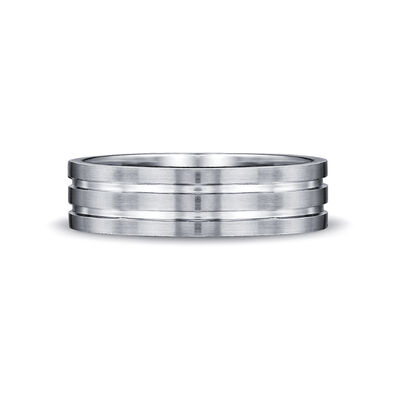 Max-Line Double Grooved Wedding Band in Satin Finished Palladium, , large image number null