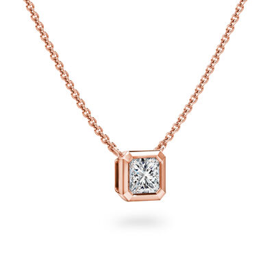 My Girl Bezel Set Diamond Solitaire Pendant In 18K Rose Gold, , large image number null