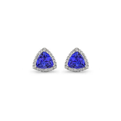 5.83 Carat Tanzanite and Diamond Halo Earrings in 18K White Gold, , large image number null