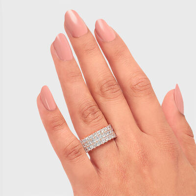6.00 Carat My Girl Triple Row Diamond Eternity Ring in 18K Rose Gold, , large image number null