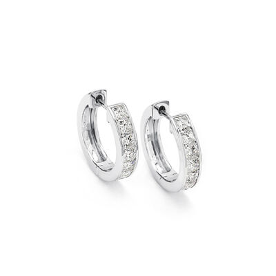 My Girl Diamond Channel Set Hoops in Platinum, , large image number null
