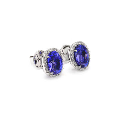 12.08 Carat Tanzanite and Diamond Halo Earrings in 18K White Gold, , large image number null