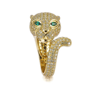 Diamond Panther Ring in 18K Yellow Gold, , large image number null